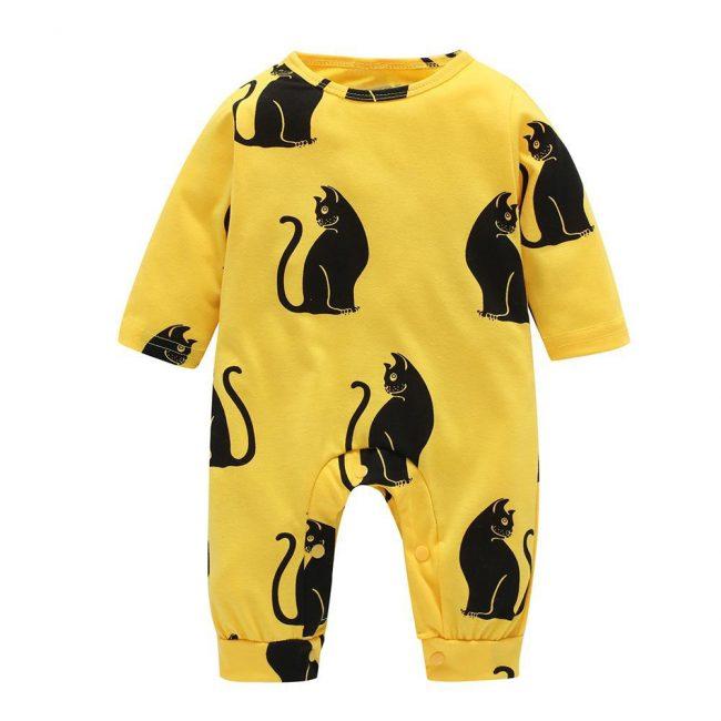 gifts for cat lovers striking kitty baby romper yellow black toddler newborn kids