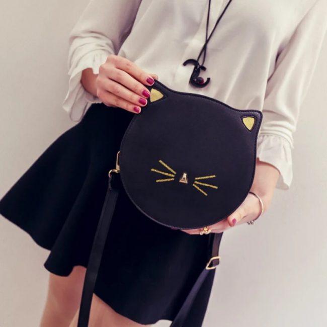 gifts for cat lovers trendy cat face sling bag crossbody handbag black womens
