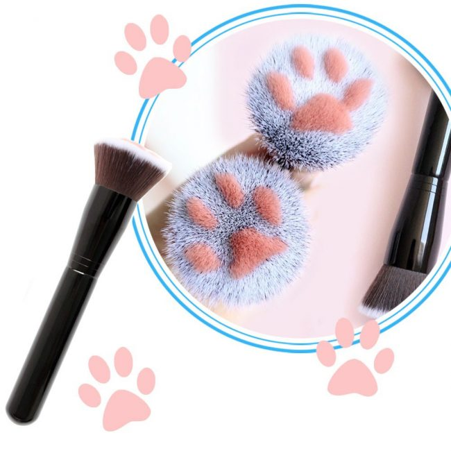 gifts for cat lovers cat paw flat top brush makeup foundation