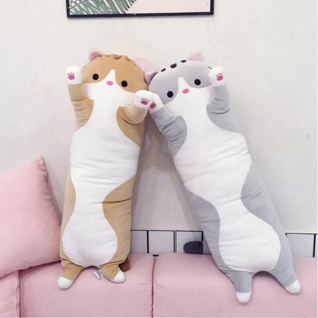 gifts for cat lovers cuddly long cat bolster huggable plushie soft toy kids adults brown grey