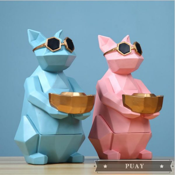 gifts for cat lovers blue pink sunglasses geometric home decor tissue holder
