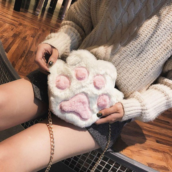 gifts for cat lovers paw sling bag furry white