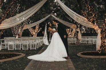 wedding venue bride groom dress fairylight fairytale