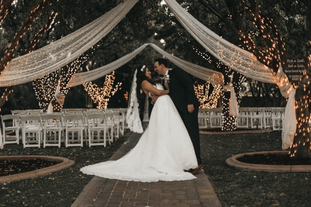 wedding venue bride groom dress fairylight fairytale
