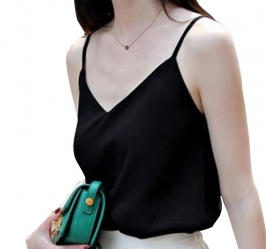 Women Sleeveless Chiffon Tank Sexy V-neck Loose Casual Tops Vest