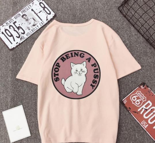 ✨ikon💕 Women Summer Casual T-Shirt Couple Short Sleeve Cotton Print Tops