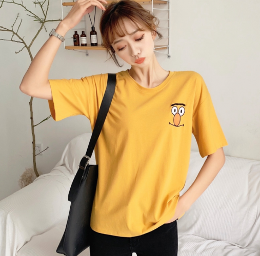 Ready Stock 👕Tops Women👕 Short Sleeve Tshirt Casual Embroidery Oversized Tee