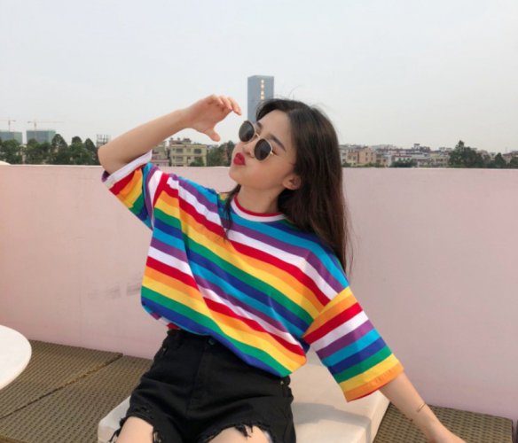 Sweet Rainbow Striped Half Sleeves T-shirts Women O Neck Tees Tops