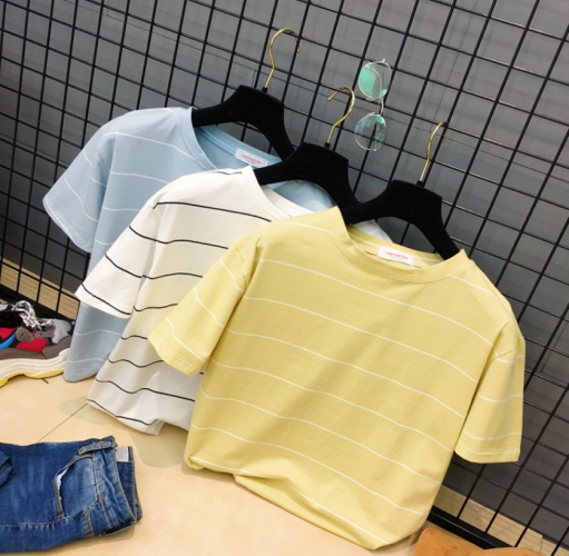 [READY STOCK! ]Women short-sleeved summer loose striped T-shirt round casual top