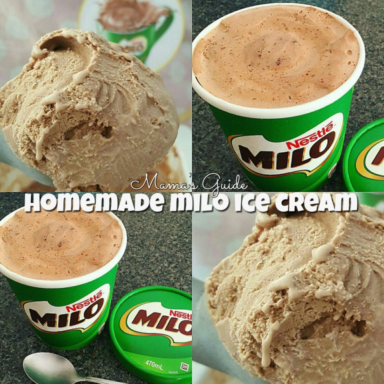 DIY No Churn Milo Ice Cream