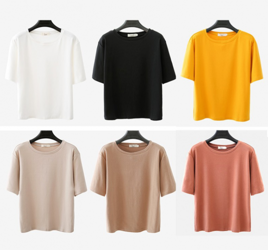 Women Summer Solid Color Color T-shirt Short sleeve Shirt Tops Bloude