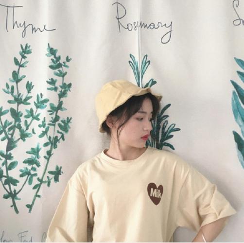 summer Japanese letter cute fresh simple soft cotton preppy style short sleeve