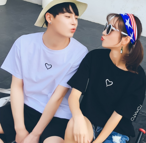 Couple Style Lover Cotton O-neck Embroidery T-Shirt Casual Tops