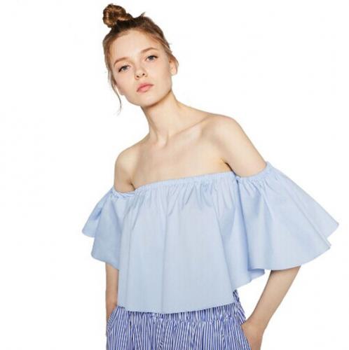 ❤OO❤New Women Ladies Flare sleeve Tank tops Off shoulder tee shirt Crop Top