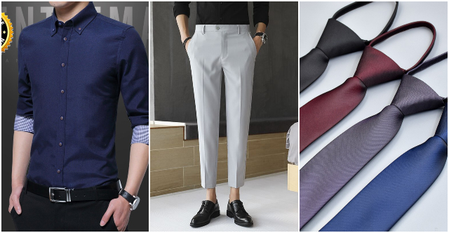 what to wear to an interview outfit men semi formal business casual shirt tapered pants skinny tie