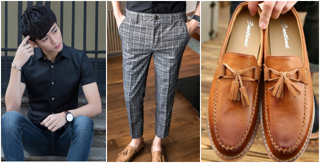 what to wear to an interview outfit men casual attire work checkered pants loafer shirt