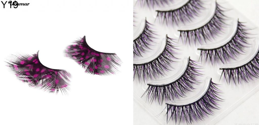 feather and colourful fake eyelashes