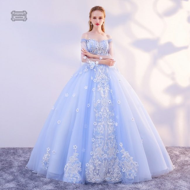 wedding dresses online periwinkle enchanted flare sleeved bridal gown