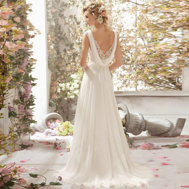 wedding dresses online flowy cowl back gown