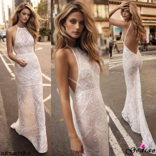 wedding dress lace sexy halter neck sheath