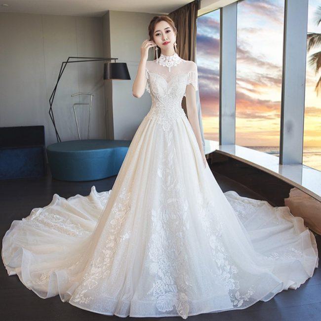 wedding dresses online fringe heart shaped back bridal gown