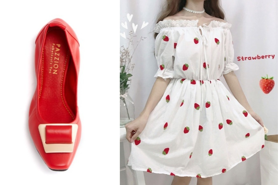 red flats white ruffle dress singapore national day outfit