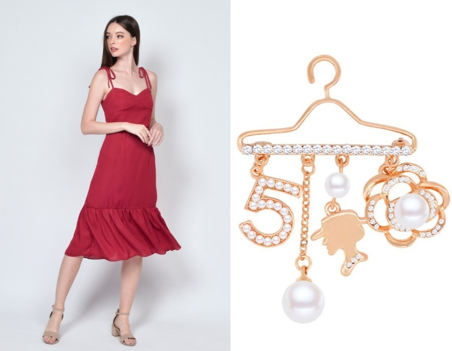 red formal dress gold pearl brooch singapore national day outfit