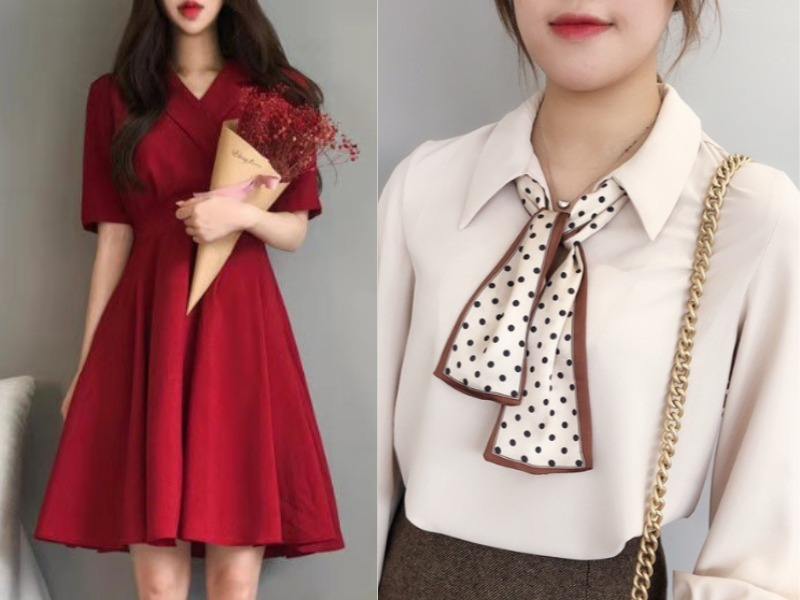red dress polka dot white scarf singapore national day outfit