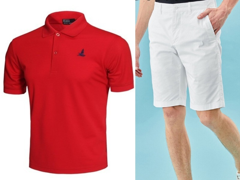 red polo shirt white bermuda singapore national day outfit