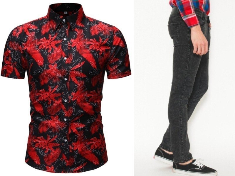 red floral shirt black jeans singapore national day outfit