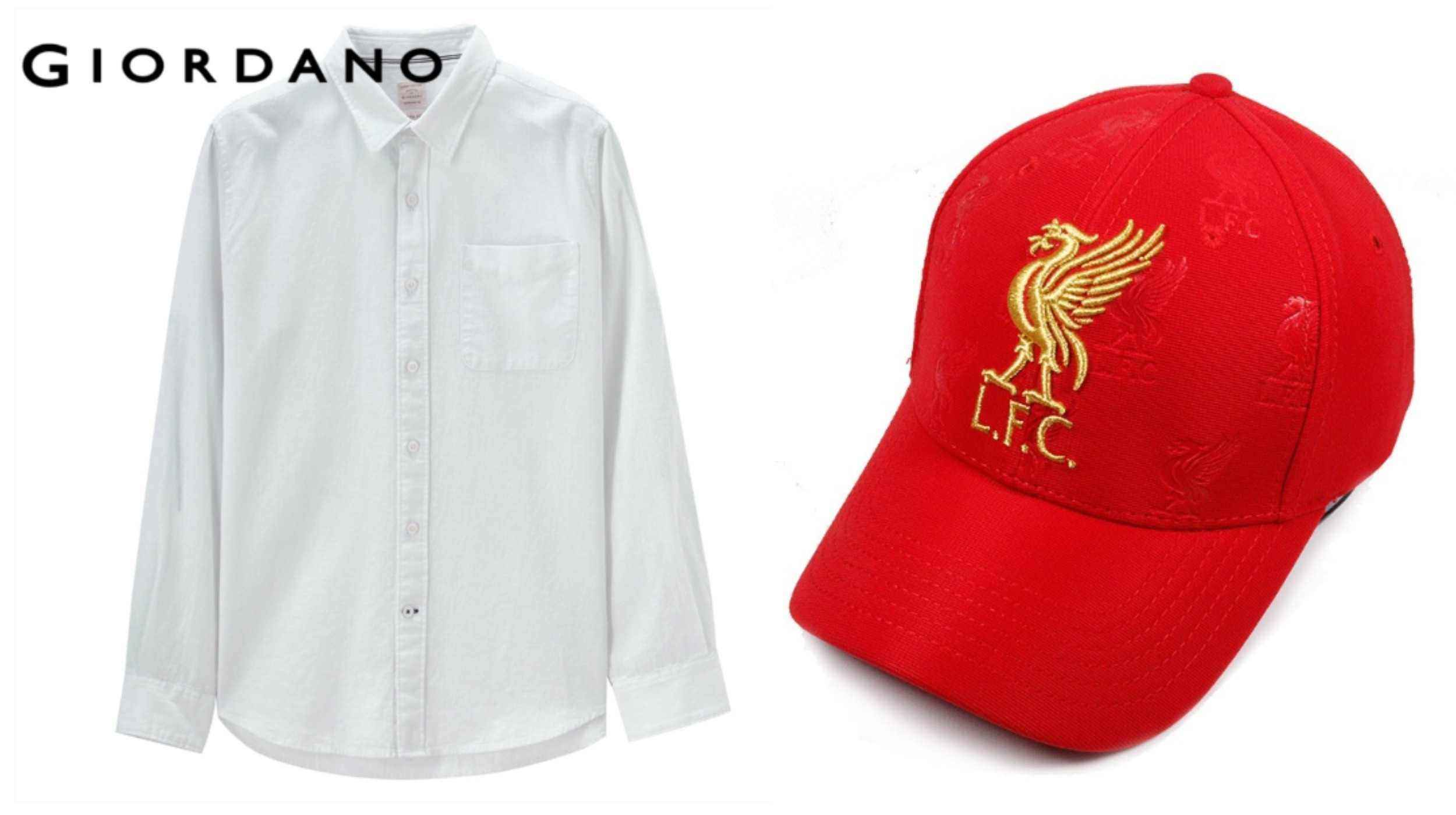 white giordano button down shirt red liverpool baseball hat singapore national day outfit