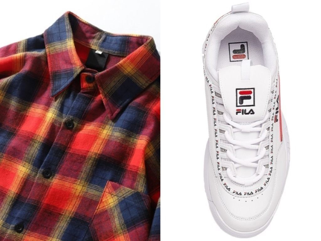 red plaid flannel fila disruptor II leather sneakerssingapore national day outfit