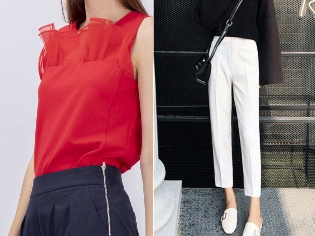 red blouse white high waist pantssingapore national day outfit