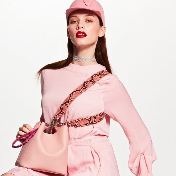 korean bag brands find kapoor pink snake bucket bag