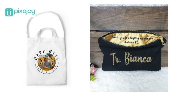 teachers' day gift idea personalised tote bag and pouch