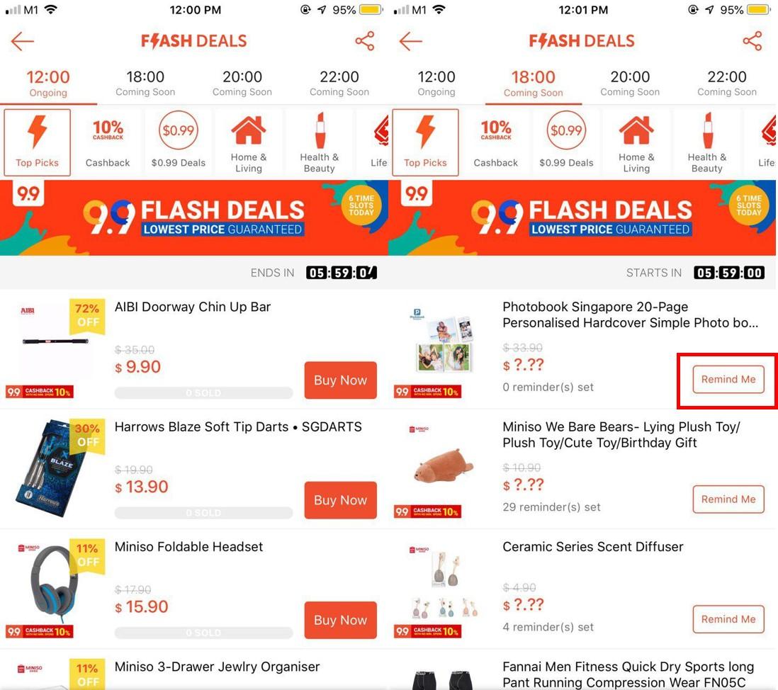 Flash Deals Remind Me Button