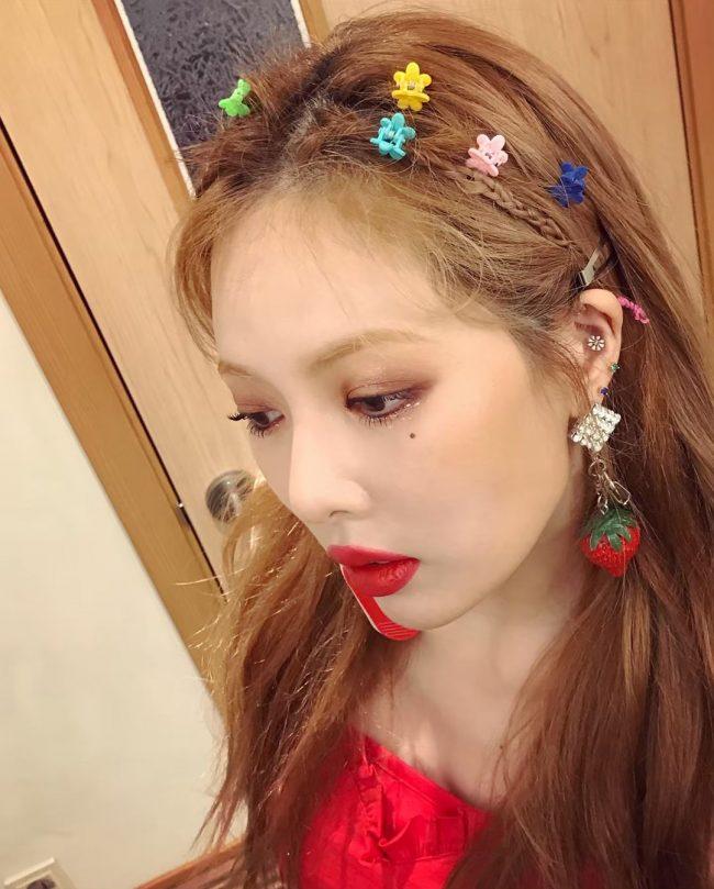 kpop hairstyle hyuna idol floral hair clip pin