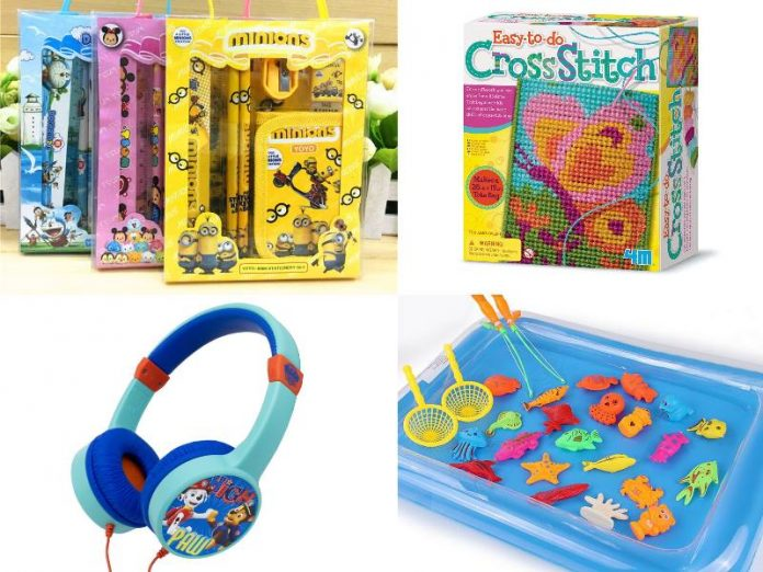 best children's day gift idea for kids stationery set cross stitch tote bag headphones inflatable fishing kit