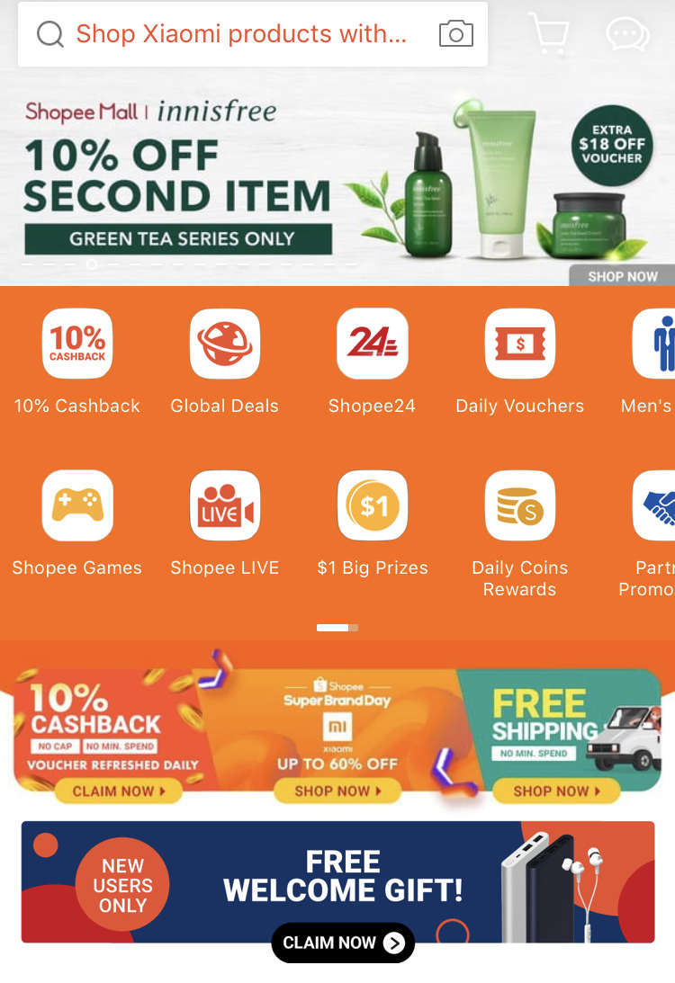first time user shopee welcome gift banner