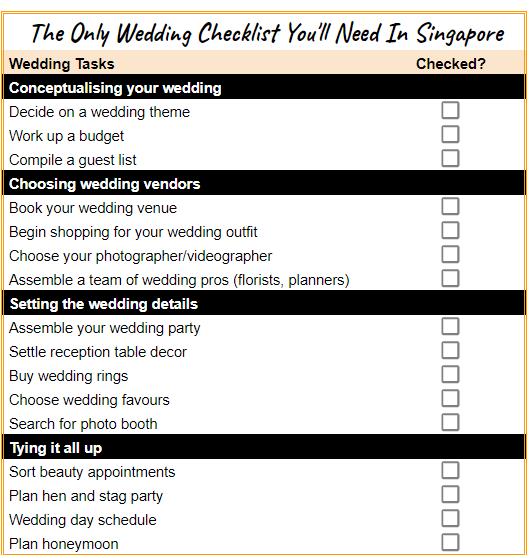Wedding Checklist Singapore