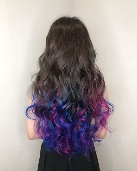 best hair colours for asians tan skin cosmic purple pink blue green