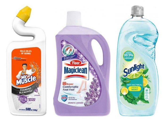 household cleaning products mr muscle magclean sunlight kitchen toilet dishes
