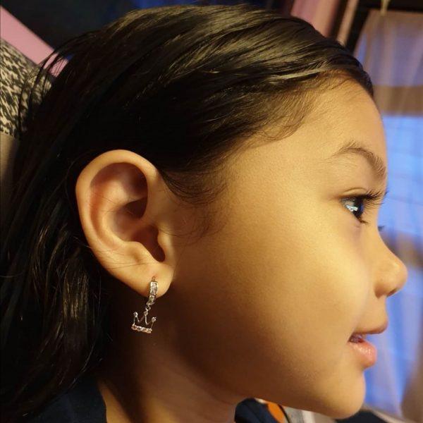 ear piercing for kids cherisheart girl with crown earrings home service