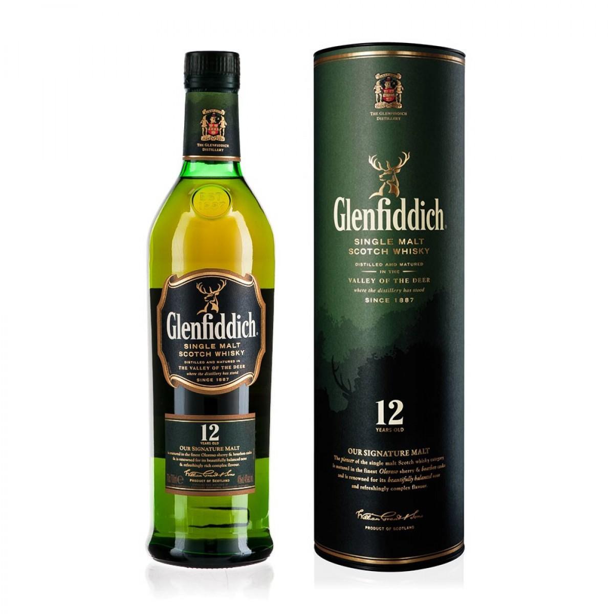 Glenfiddich 12 Yr Single Malt Whisky 70cl