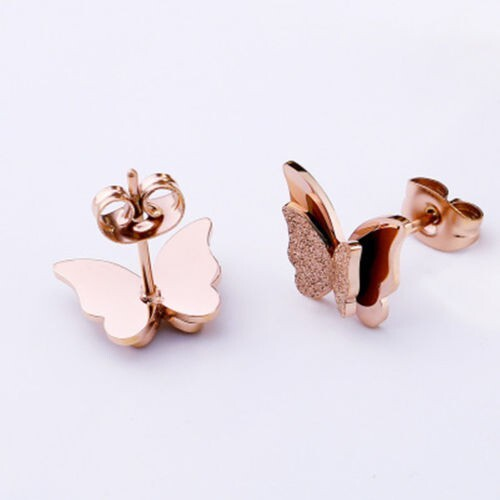 ear piercing for kids surgical stainless steel earrings butterfly rose gold hypoallergenic