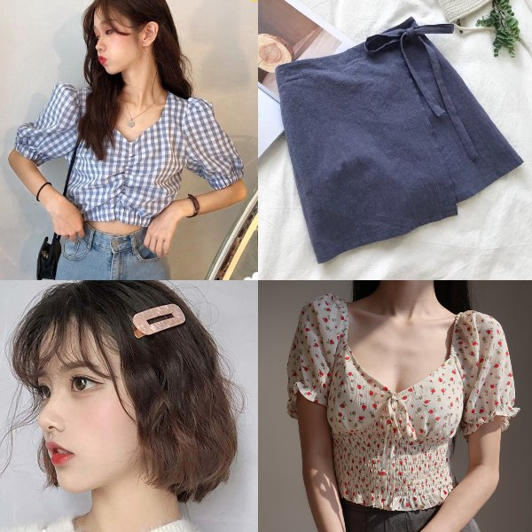 puff sleeve blouse top cute petite girls summer outfit floral skorts korean style