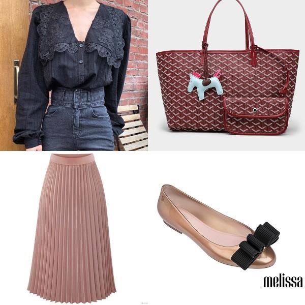 puff sleeve top blouse feminine ladylike dressing lace pleated skirt tote bag melissa shoes