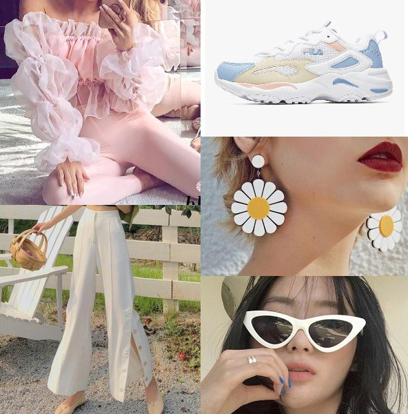 puff sleeve blouse bold fashion summer pastel ruffled top side slit pants fila tracer chunky sneakers