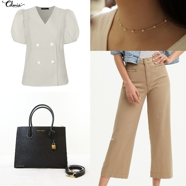 puff sleeve blouse summer work office wear outfit double breasted top pants leather bag