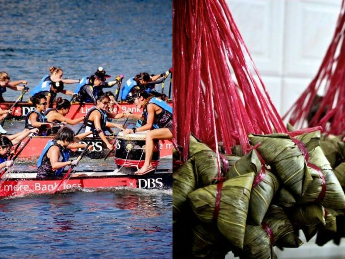 dragon boat race and rice dumpling during dragon boat festival singapore